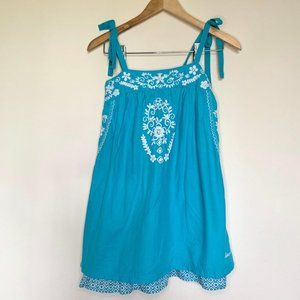 Billabong Blue Embroidered Tie Straps Tunic Top